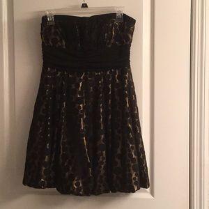 Black & Gold Polkadot Prom Dress